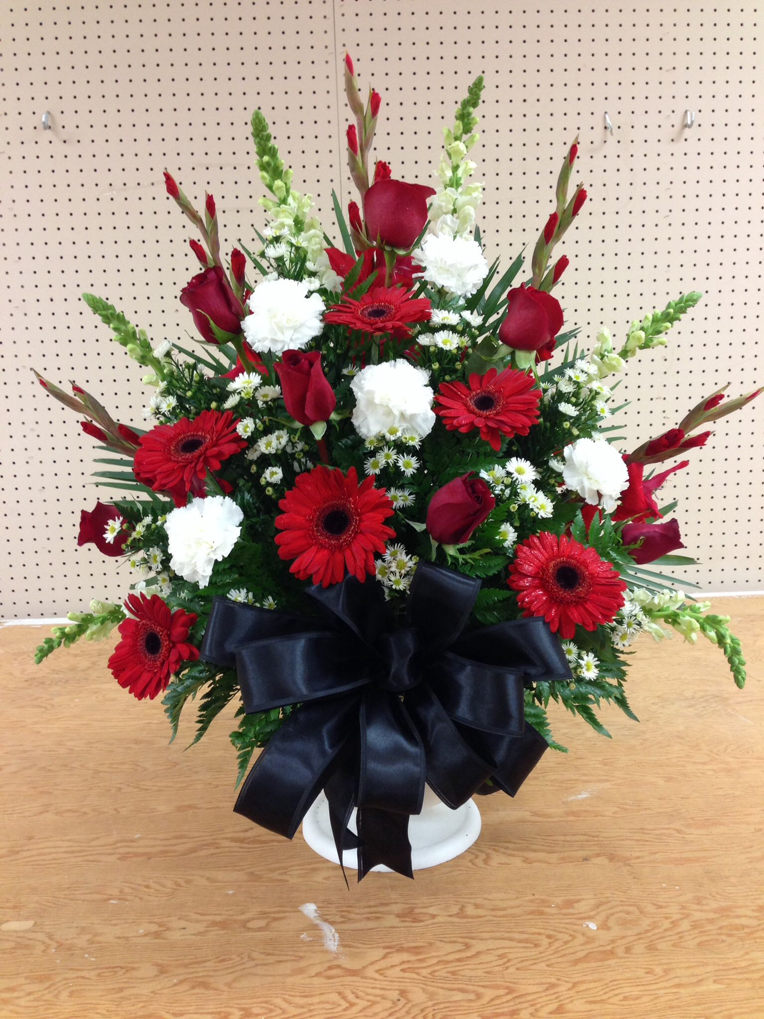 Alter arrangement, church flowers, red, white and black, gerber ...
