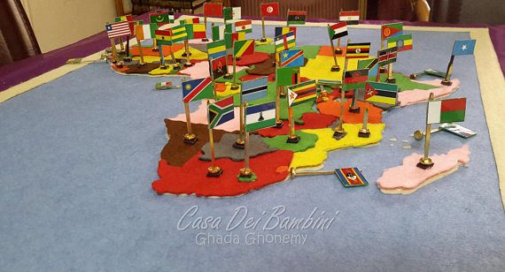 Montessori Continents Puzzle Map, Geography Lesson ...