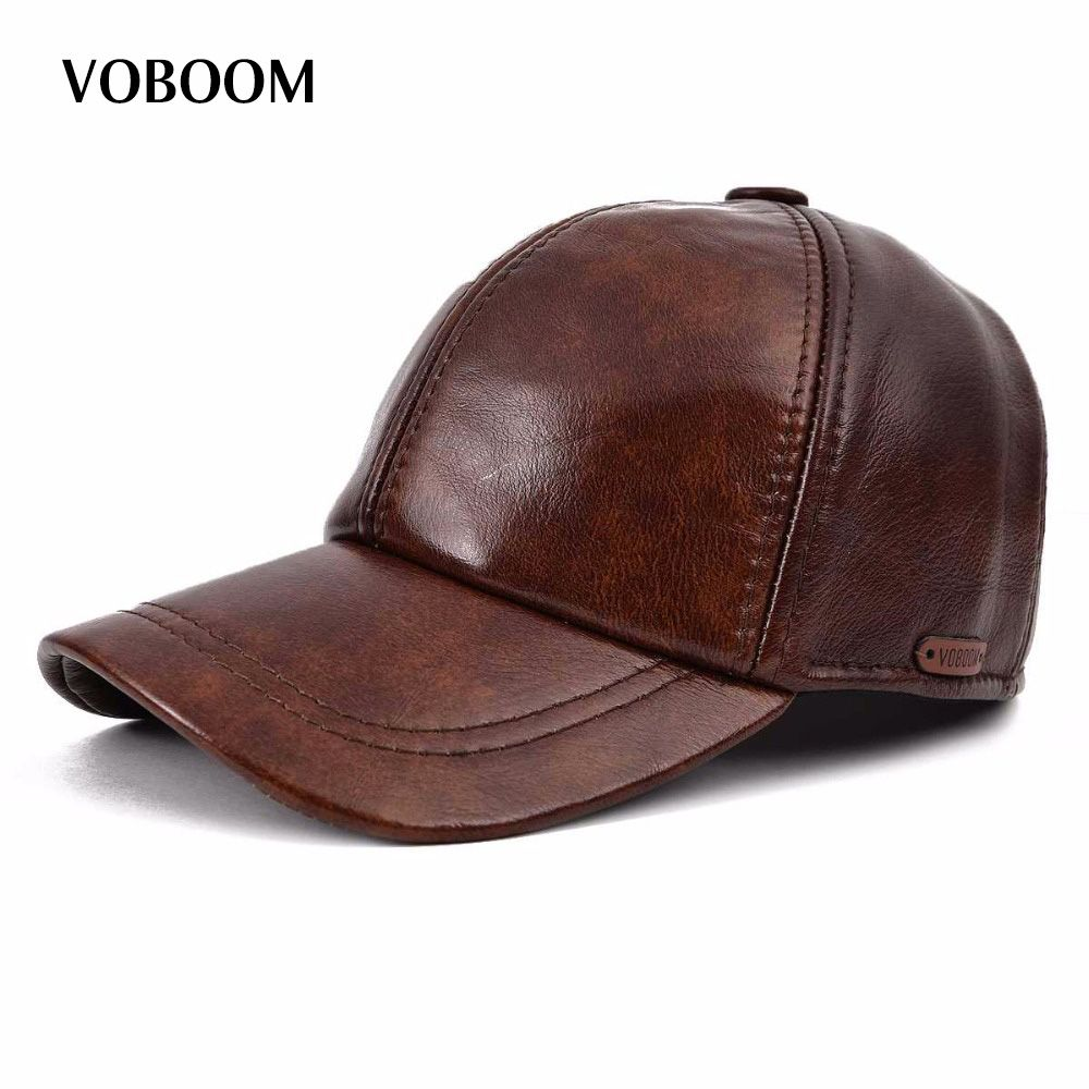 voboom genuine leather baseball cap for man male winter classic