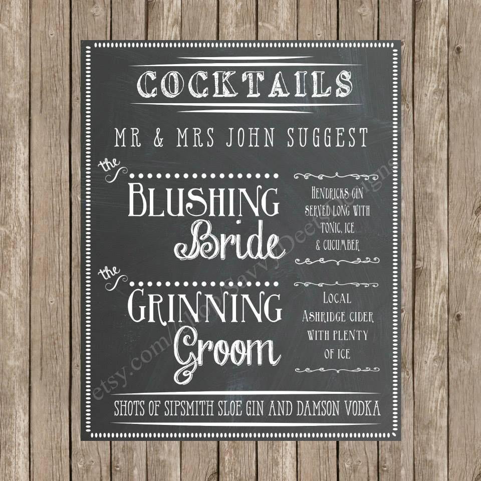 Signature Cocktails Drink Menu Wedding Signature