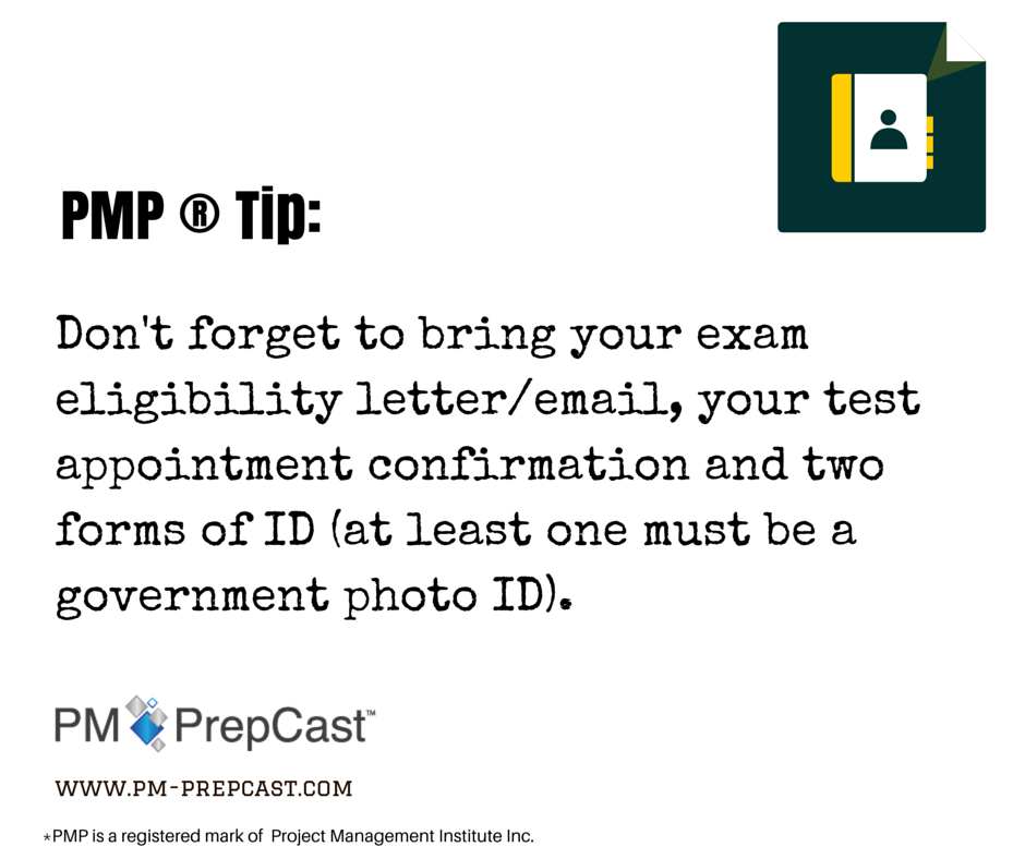 Pmp Tip DonT Forget To Bring Your Exam Eligibility Letter