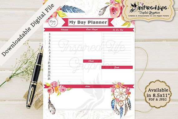 Instant Download Floral Daily Planner / 85 x11 in/Daily Planner - daily calendar printable