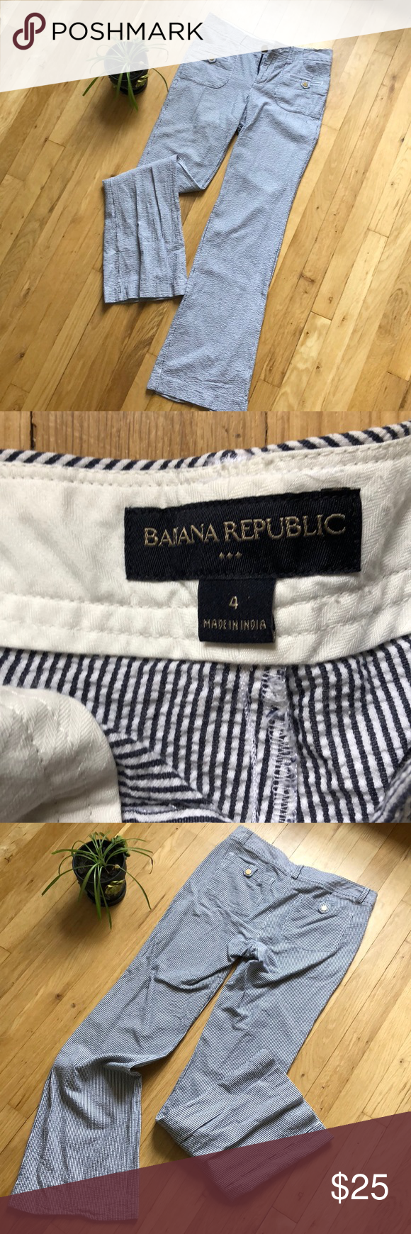 Banana Republic trousers sz 4 Size 4 banana republic trousers. These are super cute for semi casual business attire or a Sunday brunch. Perfect for spring or summer. Blue and white striped. Banana Republic Pants Trousers #businessattiresummer
