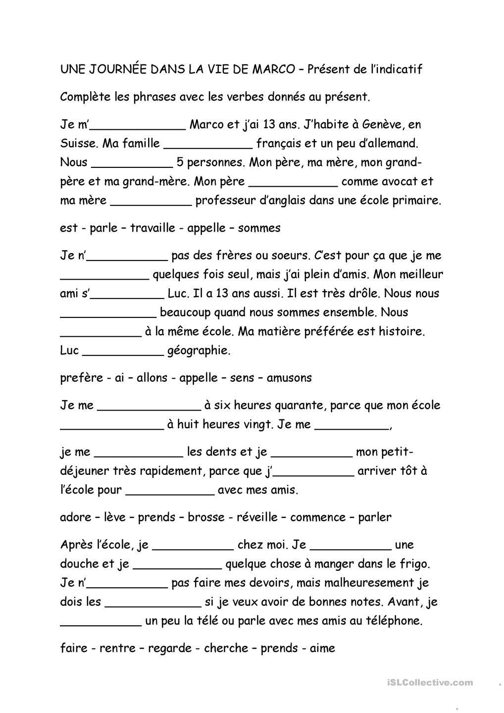 Une Journee Dans La Vie De Marco Present De L Indicatif Exercices Conjugaison French Expressions Exercices Orthographe