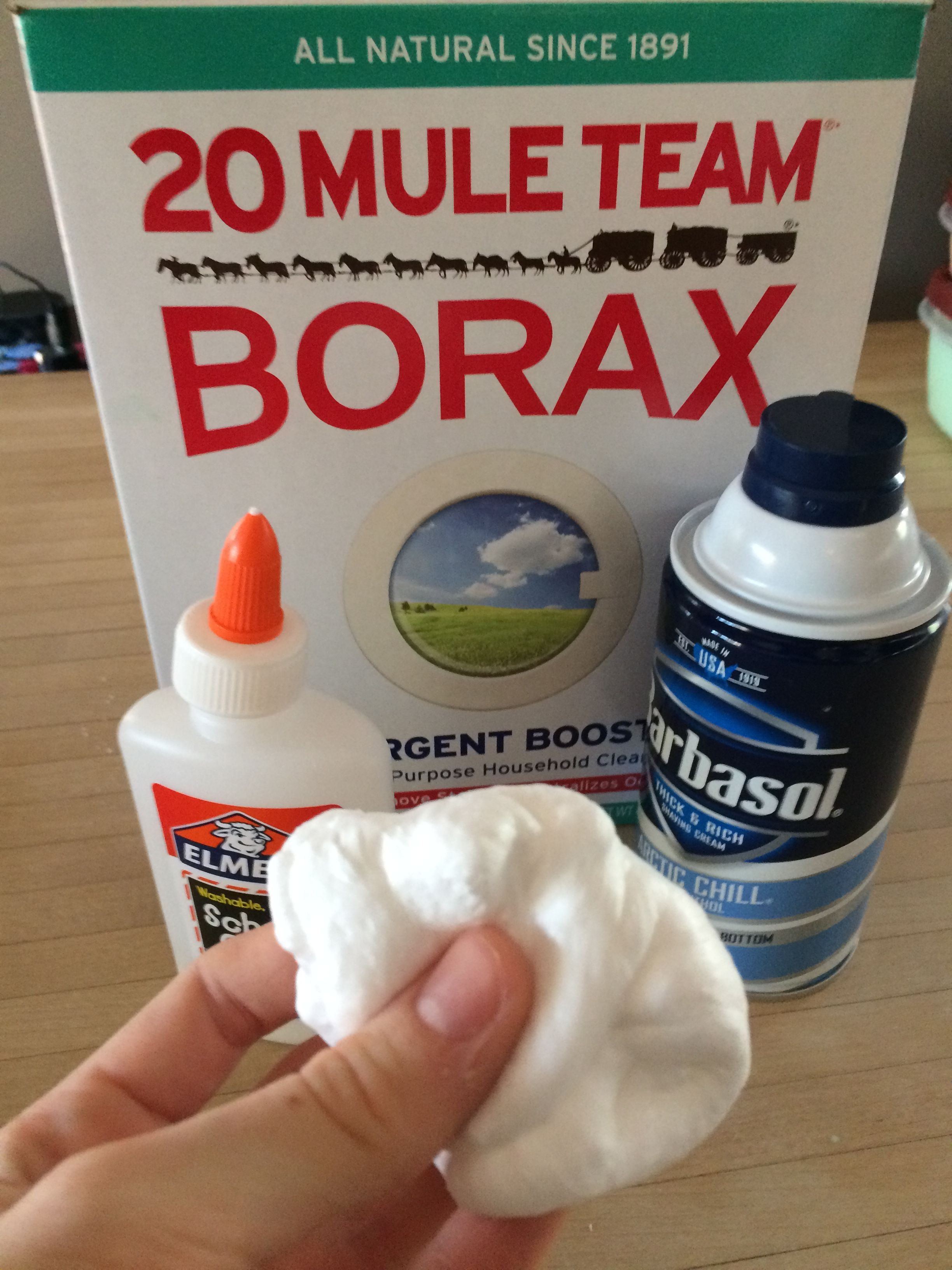 I was just experimenting and found a super easy way to make fluffy i was just experimenting and found a super easy way to make fluffy slime a little glue the amount in a bottle shaving cream pinch of borax ccuart Choice Image
