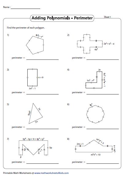 Polynomials Perimeter Of Shapes Adding Polynomials Polynomials Polynomials Activity