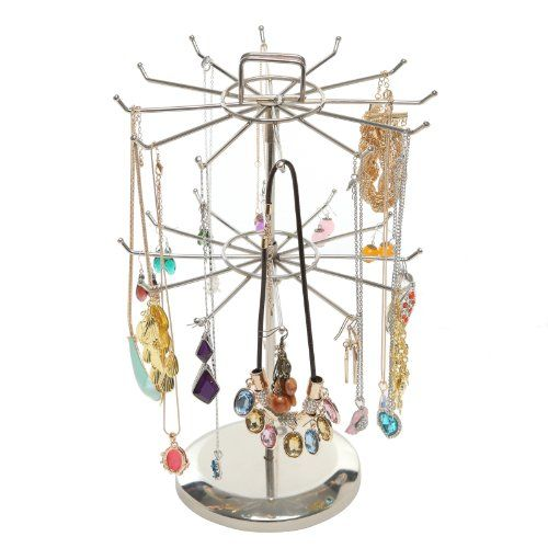 MyGift Rotating Metal Jewelry Organizer Tower Necklace Tree Bracelet