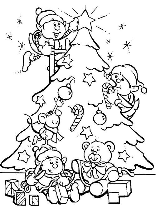 Disney Christmas Kids Very Happy With There Christmas Tree Coloring - new christmas tree xmas coloring pages