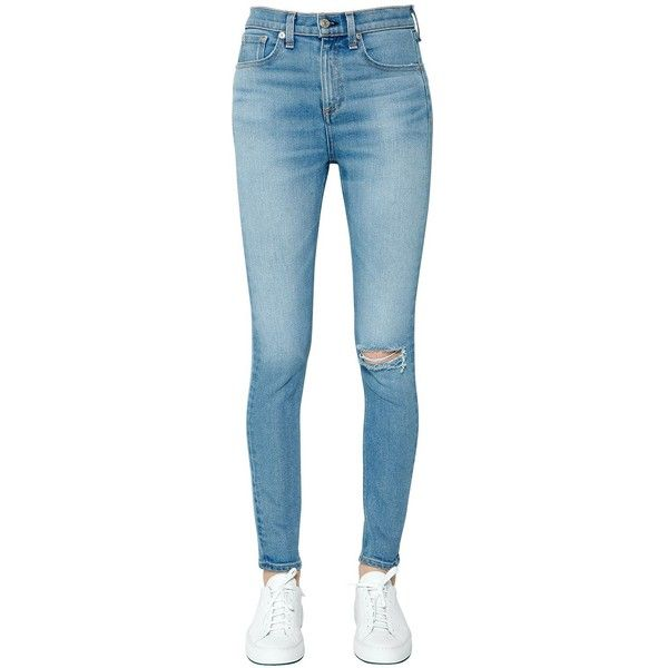 d618d1bc2caf Rag&bone Women High Rise Skinny Rip Cotton Denim Jeans ($385) ❤ liked on  Polyvore