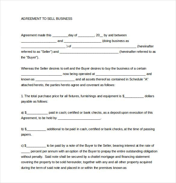 sales agreement templates free sample example format payment plan - sample business purchase agreement