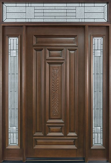 Entry Door In Stock Single With 2 Sidelites Solid Wood With Dark