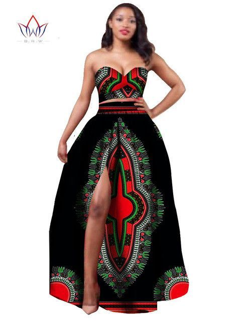 1ece18e40fb 2017 African Clothes Dashiki for Women Bazin Riche Crop Top and Skirt Set 2  Piece Traditional African Clothing Plus Size WY506