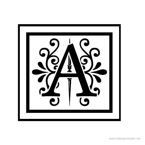 picture about Printable Monogram Stencil referred to as Apex Lake Printable Attractive Alphabet Letter A I