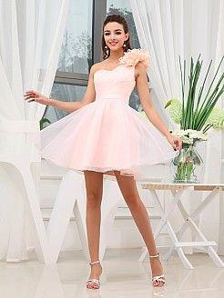 Floral Single Strap Organza and Satin Mini Graduation Dress'