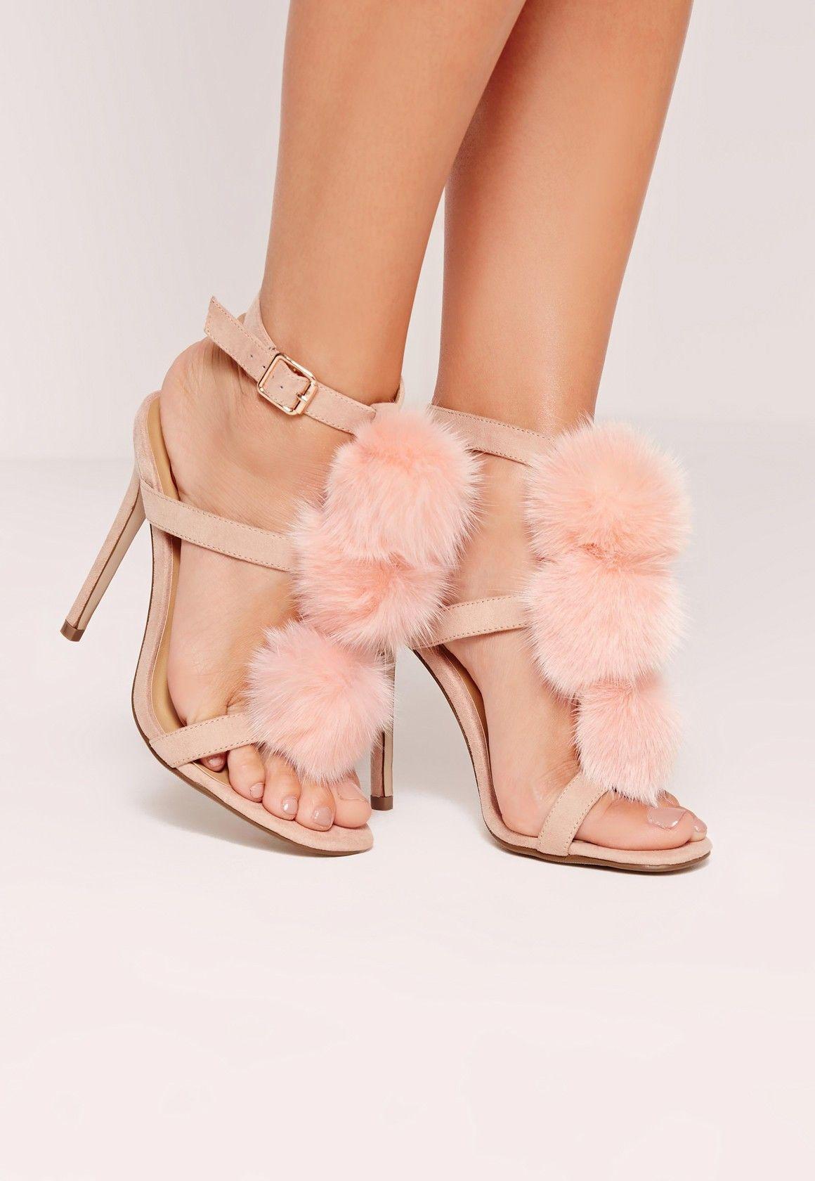 daf1377c0cf Missguided - Pom Pom T Bar Heeled Sandals Pink