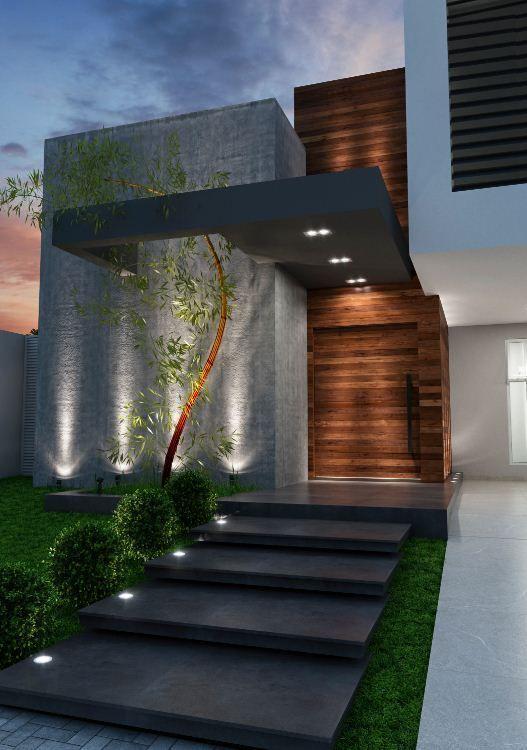 Arquitectura Fachadas De Casas Modernas Casas Modernas: Entrada, Importante Detalle Saliente Puerta De Casa Con Luz Y Tejadillo