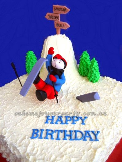Skier Falling Down Cake Birthday and Celebration Cakes Pinterest