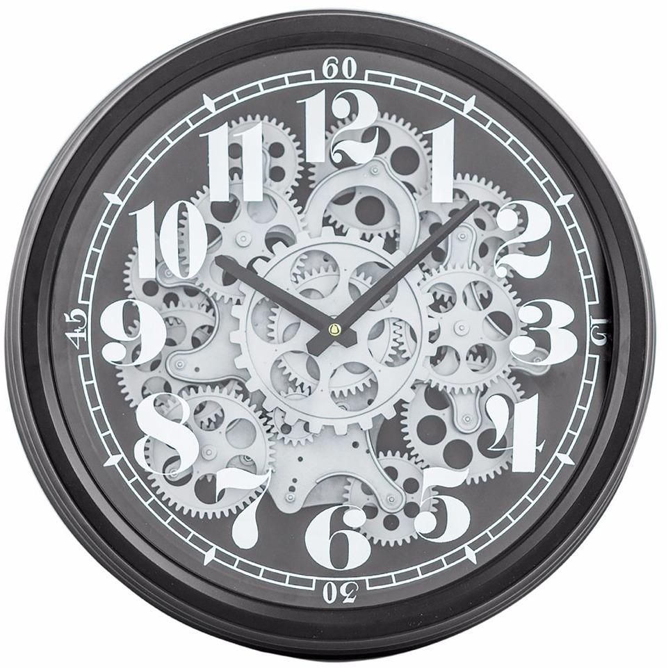 Black And Silver Moving Gears Clock Clock Gear Wall Clock Wall Clock