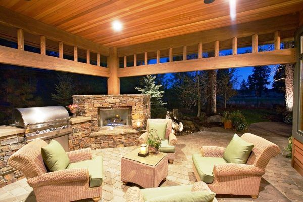Chic Portland Outdoor Kitchen Designs With Corner Outdoor Fireplace Kits  And Patio Furniture Coffee Tables Also