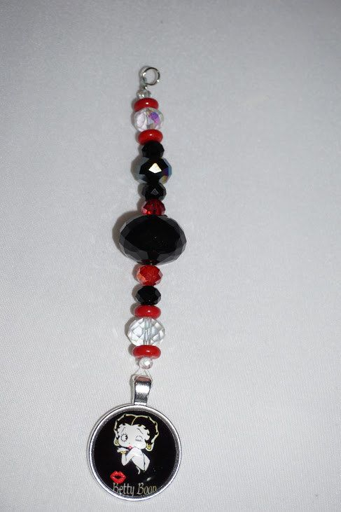Red and Black,  Betty Book,   Chunky Crystal,  Rear View Mirror Charm,   One of a Kind,  Black Crystal,    Promo Code by EarthDreamsbySunLi on Etsy