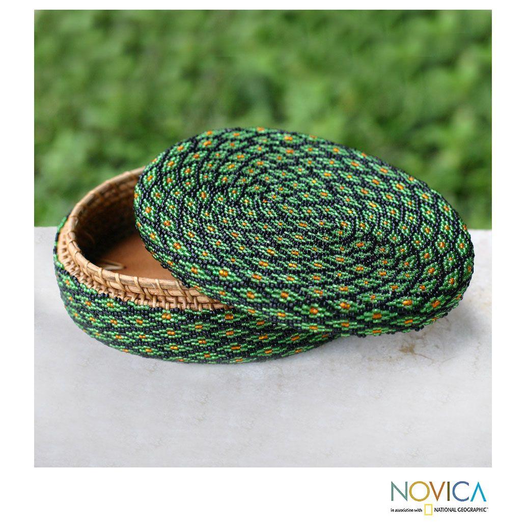 Novica Handcrafted Beaded 'Emerald Forest' Basket