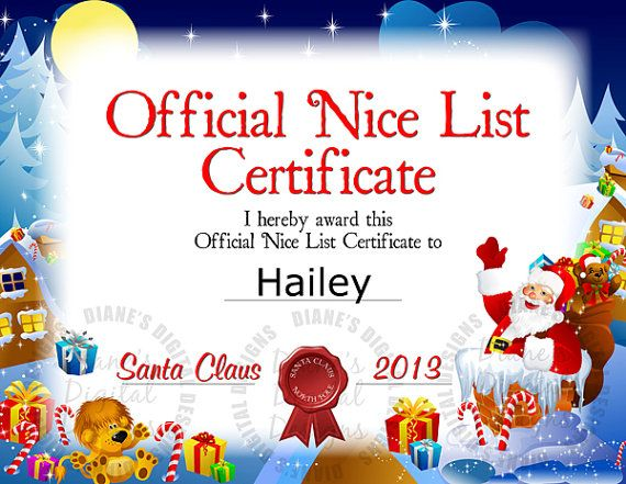 Printable Letter From Santa And Nice List Certificate Other Files Patterns And Templates Nice List Certificate Christmas Gift Certificate Template Christmas Letter Template