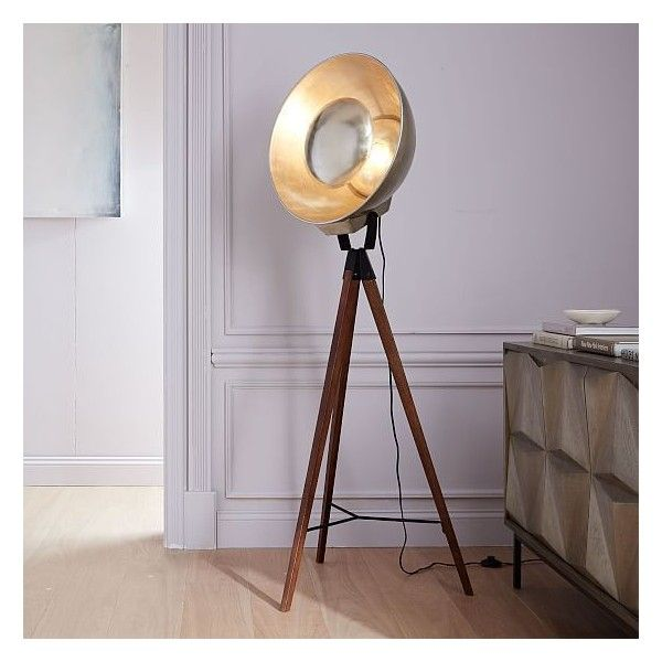 West Elm West Elm Studio Tripod Floor Lamp, Wood/Gold   Floor Lamps