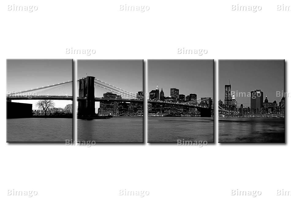 Quadro new york vista su manhattan e brooklyn bridge black and