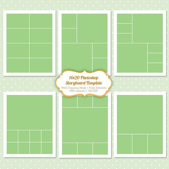 Instant Download Storyboard Photoshop Templates 16x20 Digital - digital storyboard templates