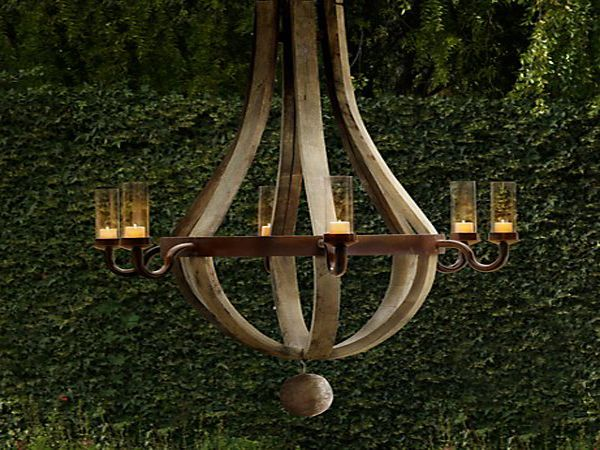 french wine barrel chandelier tennessee lake house – Outdoor Votive Candle Chandelier