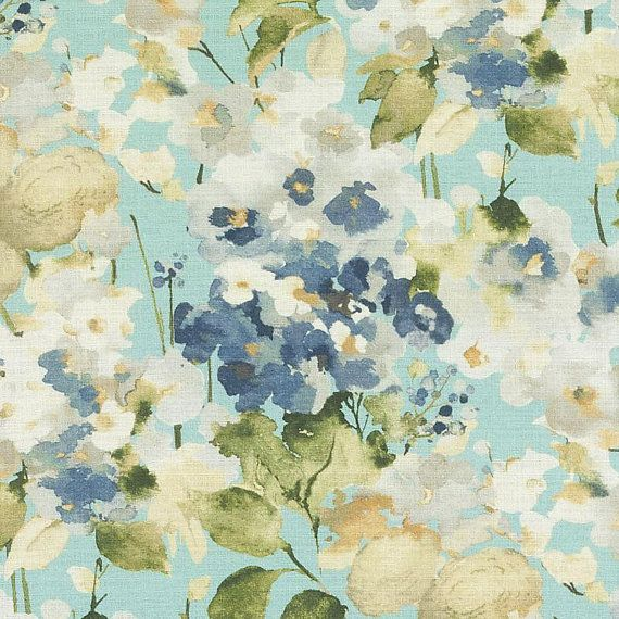 Tissu Floral Jaune Bleu Rideaus Floraux Verts Bleu Marine Etsy