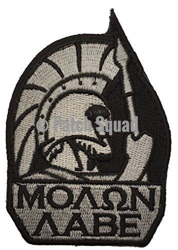 Molon Labe Spartan Head Military Velcro Embroidered Patch   Morale Patch  (Black Silver) - By Patch Squad 40200dc7c37
