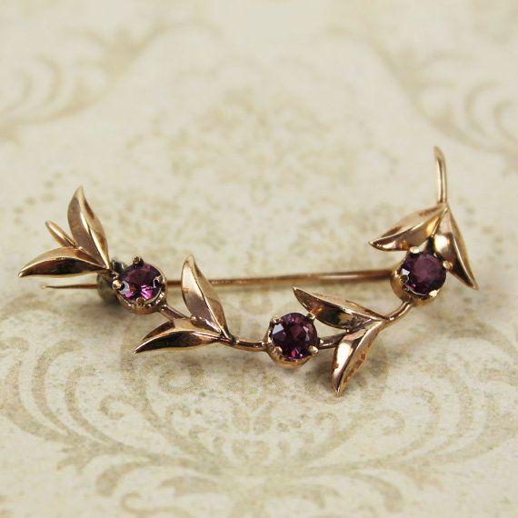 Vintage 10k Gold Pink Gemstone Leaf Brooch by scdvintage on Etsy