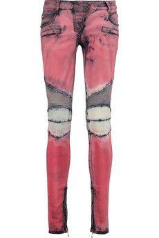 Balmain Printed low-rise skinny jeans | THE OUTNET