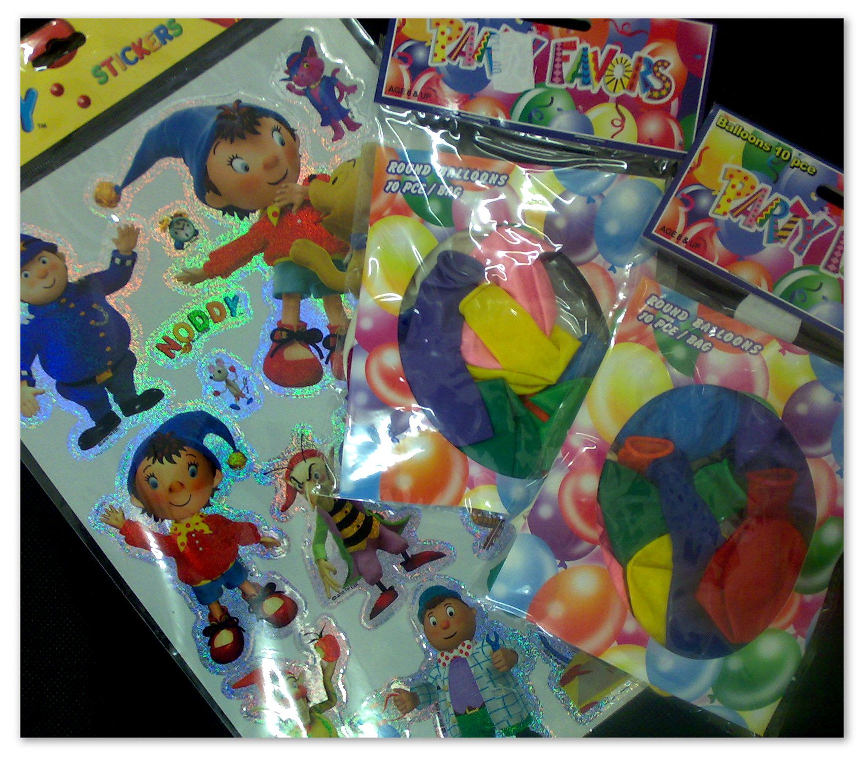 Noddy, Incredibles, Super Man Sticker Packs and Kids Party Balloons ...