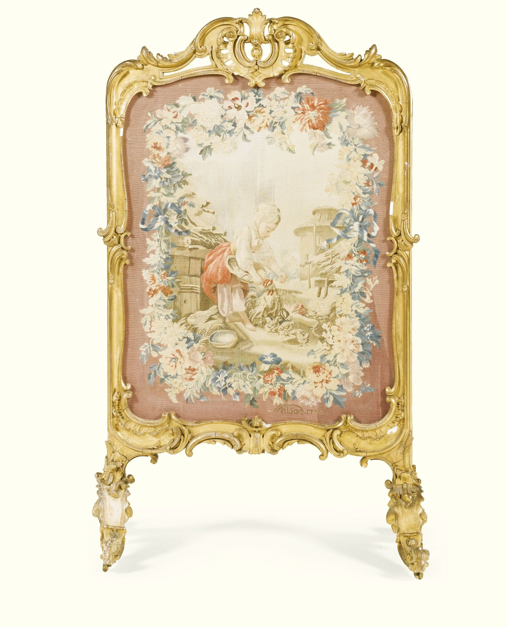Sessel Louis Quinze A Gobelins Tapestry And Carved Giltwood Firescreen The Late Louis