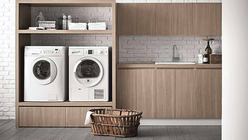 machine a laver seche linge sureleve meuble bois
