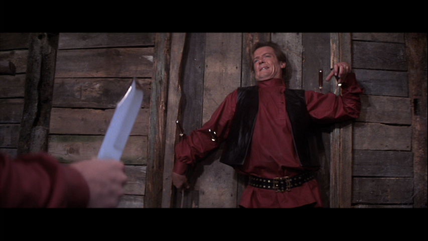 Circus knife-throwers are big part of action toward the end. This is an alternate costume for Bond.