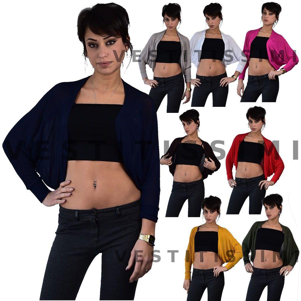 7795559cdf Maglia donna coprispalle cardigan maglioncino bolero giacca maniche lunghe  M05