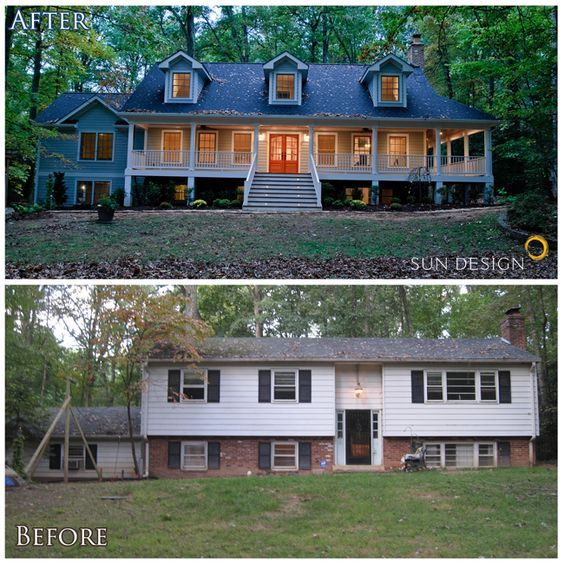Home Exterior Renovation Ideas Part - 40: (If I Canu0027t Find A House With A Porch, I May Add One) This Home Was  Transformed From A Split-foyer Into A Colonial, By Adding An Addition Onto  The Home ...