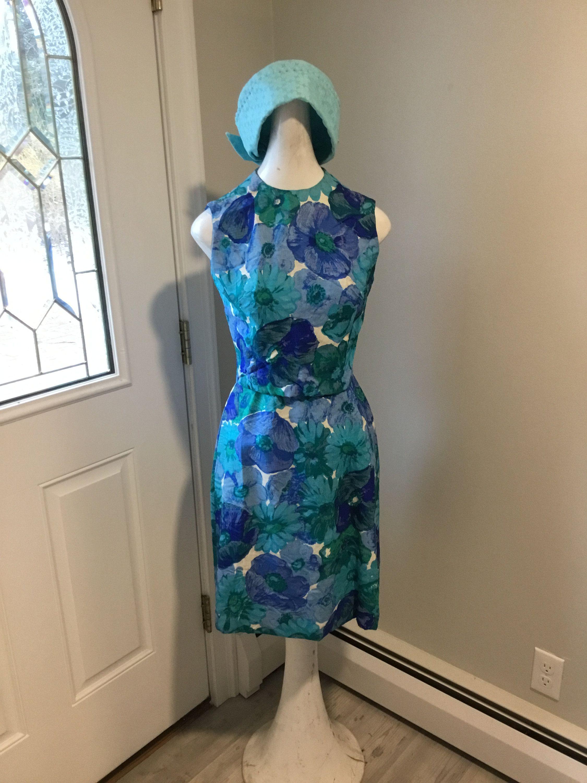 60s Dress Floral Wiggle Dress Marek New York Label Size 5 Mad Etsy Cocktail Dress Wedding Dresses Floral Blue Dress [ 3000 x 2250 Pixel ]