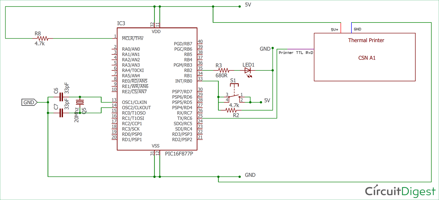 circuit diagram for thermal printer interfacing with pic16f877a [ 1500 x 684 Pixel ]