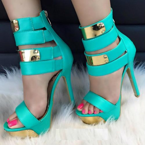 On Sale! High Polish Strappy Platform Heels