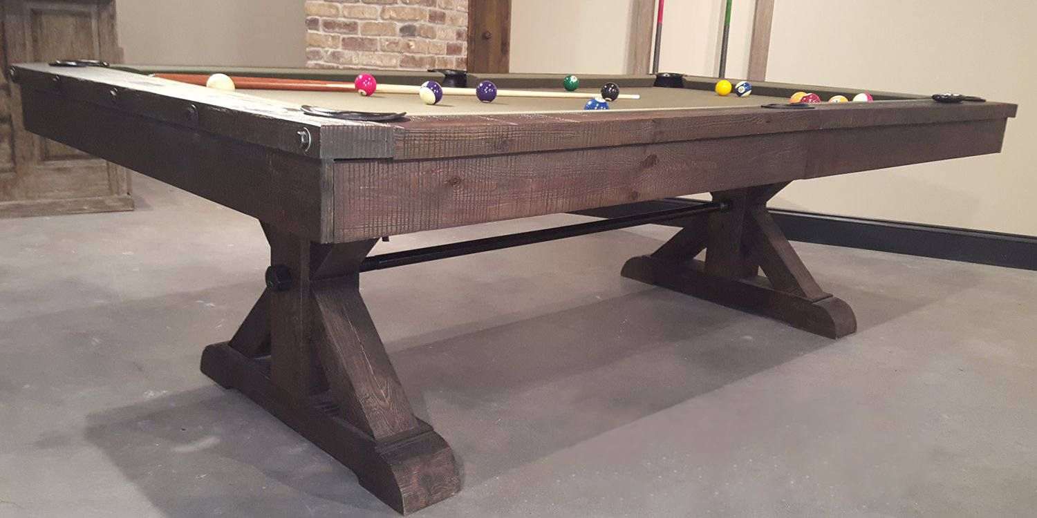 Pool Table Inspired By Restoration Hardware Rustic 8 Washed Black Finish Room Furniture Man Cave Sawyertwain On Etsy