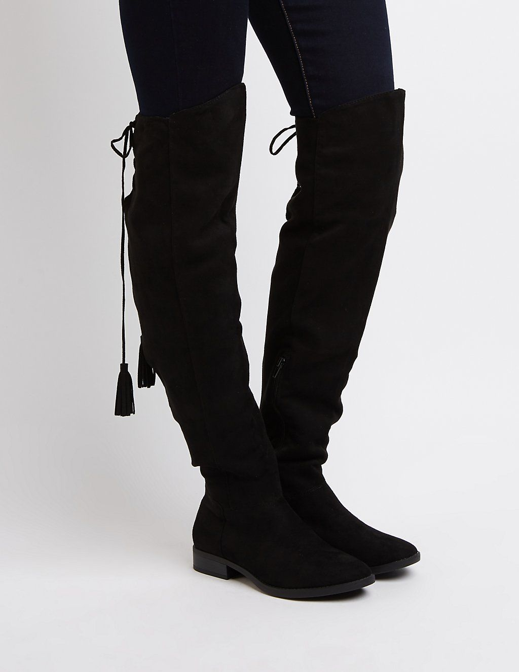 6df97855b54 Tie-Back Flat Over-The-Knee Boots