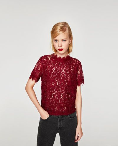 dcd2b3e692 Image 2 of EMBROIDERED LACE TOP from Zara