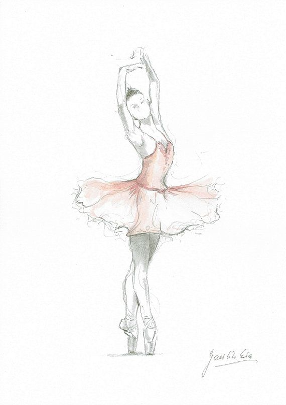 Set Of 2 Prints Ballerina Art Pink Ballerina Watercolor Ballet