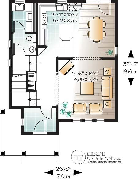 Détail du plan de Maison unifamiliale W2783 maison Pinterest