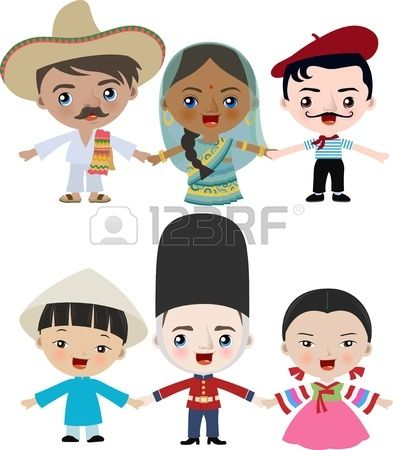 Niños Multicultural Lugares Tomados De La Mano Dibujos Para