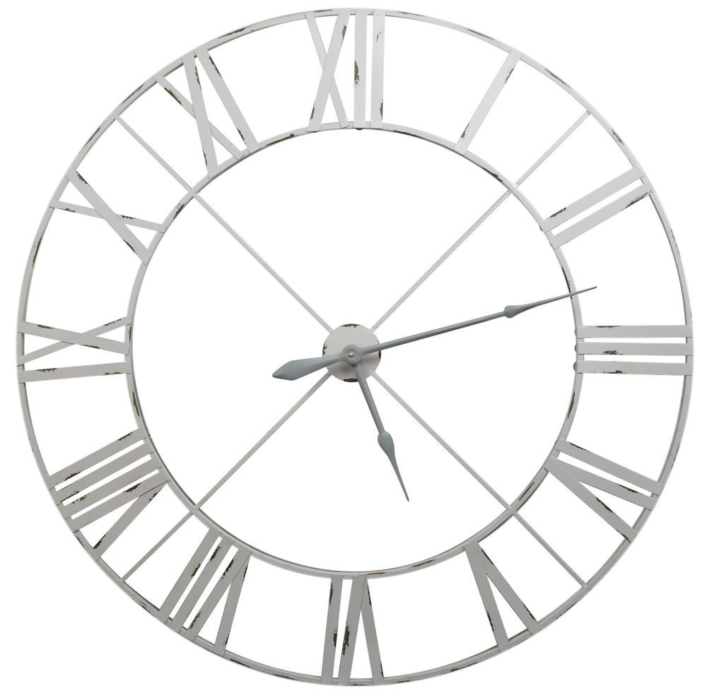 Large Pale Grey Distressed Contemporary Skeleton Metal Wall Clock 110cm